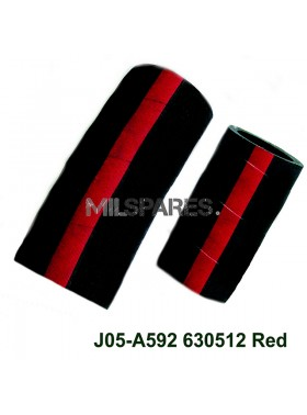 Hose 2piece rubber,up/down red